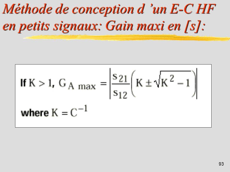 Méthode de conception d 'un E-C HF en petits signaux: Gain maxi en [s]:
